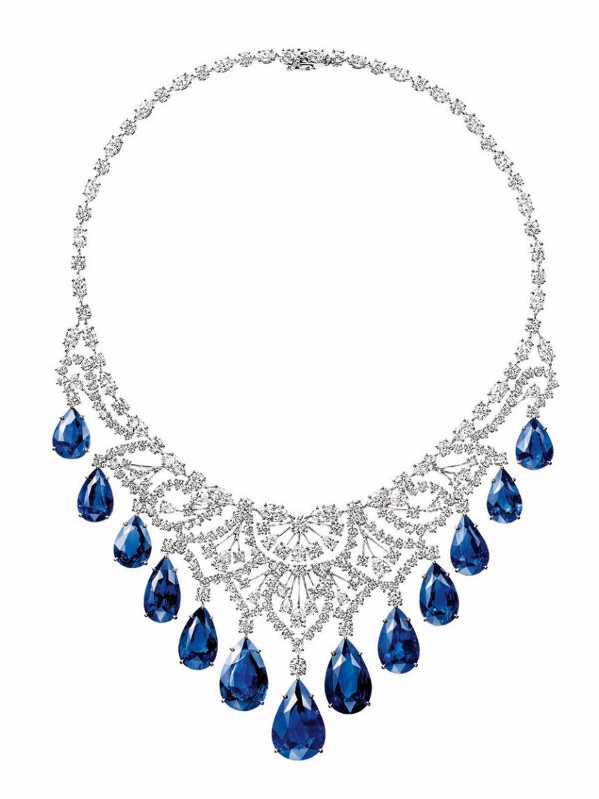 biennale harry winston sapphire and diamond cascading drop necklace ۱۰ برند از معروف ترین و لوکس ترین جواهرات